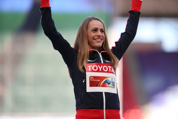 Jenny Simpson celebrating after a competition